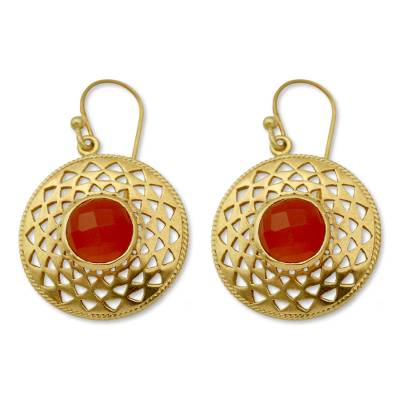Gold vermeil onyx dangle earrings, 'Jaipur Sunshine' - Gold Vermeil Onyx Earrings Indian Jewelry