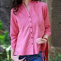 Cotton blouse, 'Rose of Mangalgiri'
