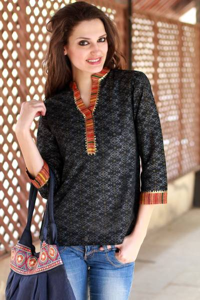 Cotton tunic, 'Waves of Orissa' - Cotton Tunic Blouse India Handwoven Ikat Embellished