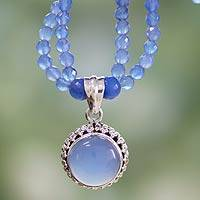 Sterling silver pendant necklace, 'Eternally Blue'