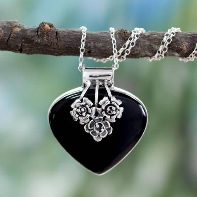 Indian Onyx and Sterling Silver Necklace Heart Jewelry