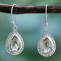 Prasiolite dangle earrings, 'Mughal Mystique' - Prasiolite dangle earrings
