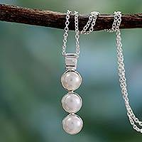 Cultured pearl pendant necklace, 'Infinite Beauty' - Pearl Necklace Sterling Silver Jewelry from India