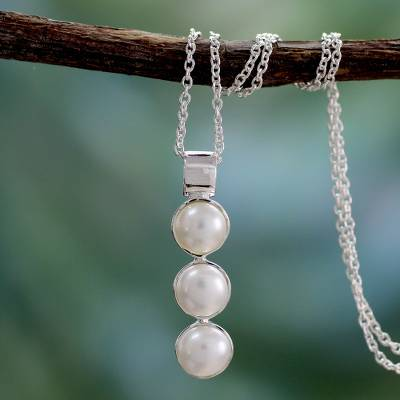 Cultured pearl pendant necklace, 'Infinite Beauty' - Pearl Necklace Sterling Silver jewellery from India