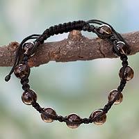 Smoky quartz Shambhala-style bracelet, 'Love Universe' - Handcrafted Shambhala-style Bracelet with Smoky Quartz