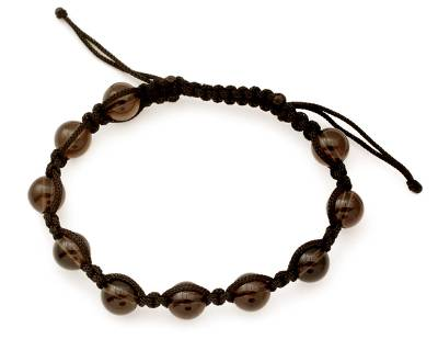 Handcrafted Shamballa Bracelet with Smoky Quartz