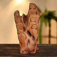 Reclaimed wood sculpture, 'Morning Basking' - Hand Carved Wood Sculpture