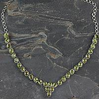 Peridot pendant necklace, 'Cascading Light'