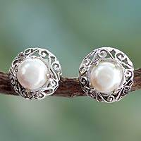 Cultured pearl button earrings, 'Royal Reminiscence' - Pearl Earrings in Sterling Silver Indian Jewelry Collection