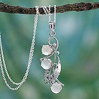 Moonstone and emerald pendant necklace, 'Radiant Bouquet' - Moonstone and Silver Pendant Necklace