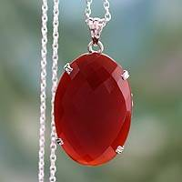 Onyx pendant necklace, 'Red Royalty'