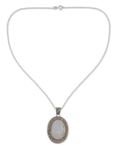 Rainbow moonstone pendant necklace, 'Dancing Moonlight' - Artisan jewellery Moonstone and Sterling Silver Necklace