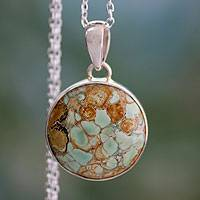 Variscite pendant necklace, 'World of Beauty' - Variscite Necklace Sterling Silver jewellery from India