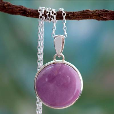 Phosphosiderite pendant necklace, 'Lavender Muse' - Phosphosiderite Necklace on Sterling Silver