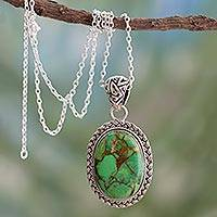 Sterling silver pendant necklace, 'Mythic Sky' - Composite Turquoise Jewelry in a Sterling Silver Necklace