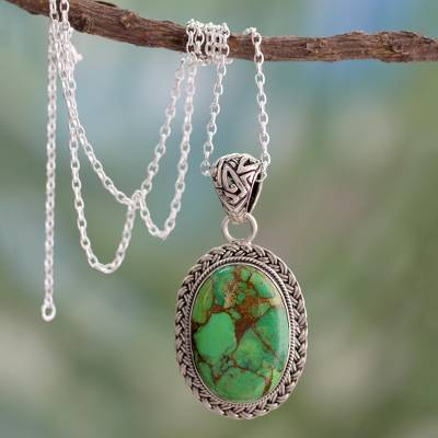 Sterling silver pendant necklace, 'Mythic Sky' - Composite Turquoise jewellery in a Sterling Silver Necklace