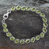 Peridot tennis bracelet, 'Nature's Gift' - Tennis Style Peridot and Sterling Silver Bracelet
