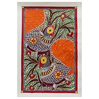 Madhubani painting, 'Birds in Harmony'