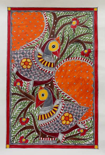 Madhubani painting, 'Birds in Harmony' - Madhubani painting
