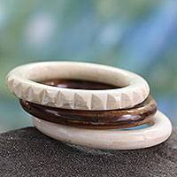 Bone bangle bracelets, 'Delhi Harmony' (set of 3) - Bangle Bracelets Carved by Hand from Bone (Set of 3)