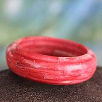 Bone bangle bracelet, 'Delhi Sunset' - Handcrafted Red Buffalo Bone Wide Bangle Bracelet