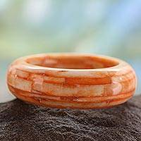 Bone bangle bracelet, 'Delhi Sunrise' - Bangle Bracelet India Bone Handcrafted Jewelry