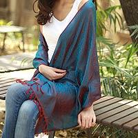Varanasi silk shawl, 'Dawn Glow' - Artisan Crafted Paisley Shawl Varanasi Silk Wrap
