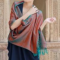 Varanasi silk shawl, 'Ginger Forest' - Indian Handcrafted Teal and Orange Silk Shawl