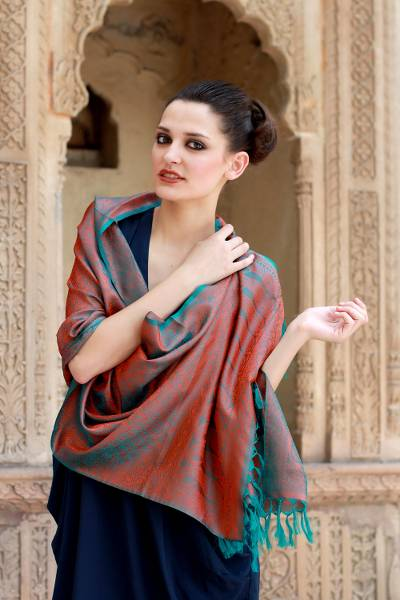 Varanasi silk shawl, 'Ginger Forest' - Handmade Varanasi Silk Shawl Turquoise Orange Wrap