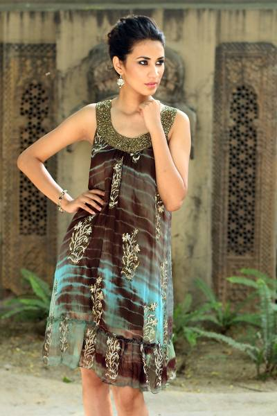 Beaded dress, 'Jaipuri Mystique' - Shibori-Dyed Green and Brown Ruffled Hem Dress with Sequins