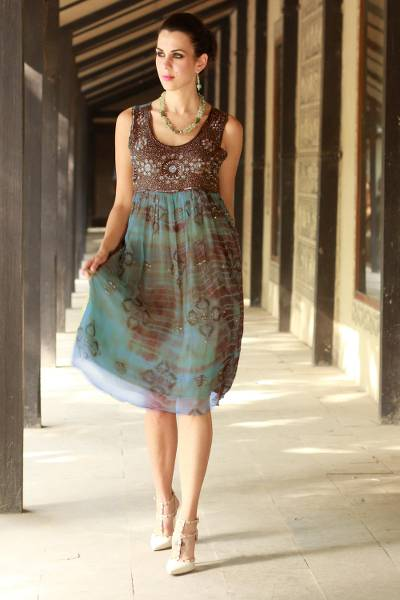 Green Dress Embellished With Sequins And Dyed Shibori Brown 4AL3jRq5