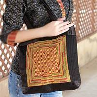 Embroidered shoulder bag, 'Kutch Legacy' - Embroidered shoulder bag