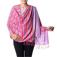 Wool shawl, 'Rainbow Confetti' - Colorful Striped Handmade 100% Wool Shawl India