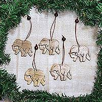 Wood ornaments, 'Elephant Holiday' (set of 5)