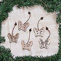 Wood ornaments, 'Butterfly Holiday' (set of 5)