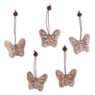 Wood ornaments, 'Butterfly Holiday' (set of 5) - Wood ornaments (Set of 5)
