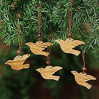 Wood ornaments, 'Songbird Holiday' (set of 5)