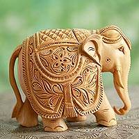 Wood sculpture, 'Majestic Elephant' (5 inch)