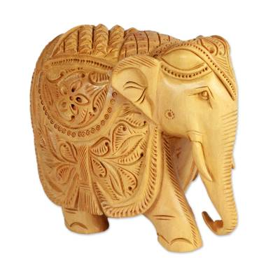 Wood sculpture, 'Majestic Elephant' (5 inch) - 5-Inch Wood Elephant Sculpture Hand Carved in India