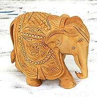 Wood sculpture, 'Majestic Elephant' (6 inch) - Wood Elephant Jali Sculpture (6 Inch)