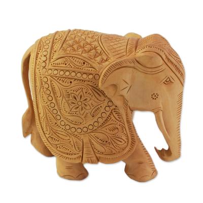 Wood sculpture, 'Majestic Elephant' (large) - Wood sculpture (Large)