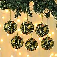 Beaded ornaments, 'Forest Bliss' (set of 6)