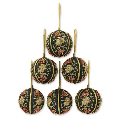 Beaded ornaments, 'Forest Bliss' (set of 6) - Fair Trade Beaded Christmas Ornaments (Set of 6)