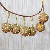 Beaded ornaments, 'Golden Garden' (set of 6)
