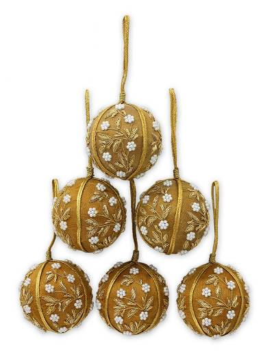 Beaded ornaments, 'Golden Garden' (set of 6) - Beaded ornaments (Set of 6)