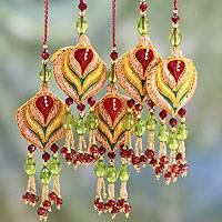 Beaded ornaments, 'Golden Lotus' (set of 5)