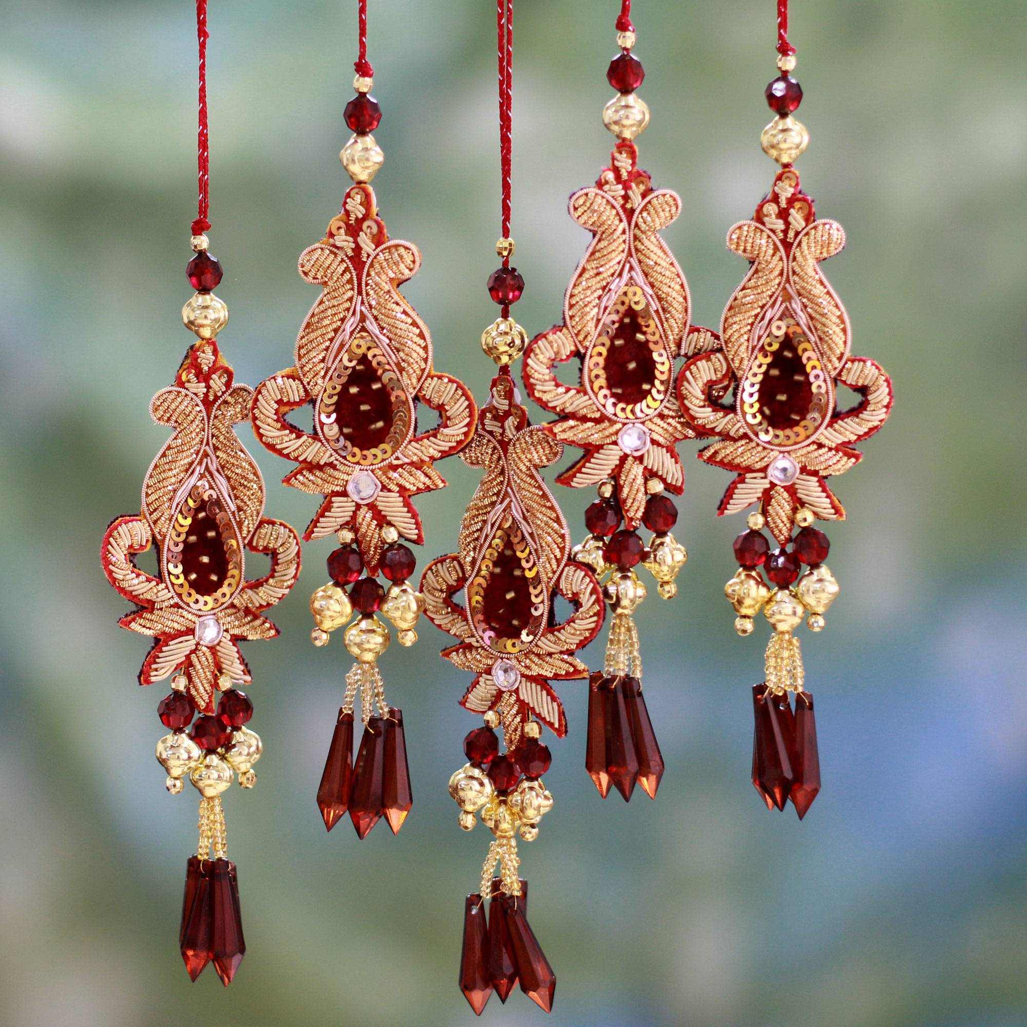 Beaded Christmas Ornaments.Beaded Christmas Ornaments From India Set Of 5 Golden Paisley