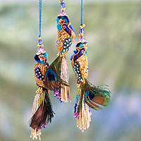Beaded ornaments, 'Royal Peacock' (set of 3)