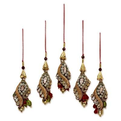 Beaded ornaments, 'Mughal Glam' (set of 5) - Hand Crafted Christmas Ornaments (Set of 5)