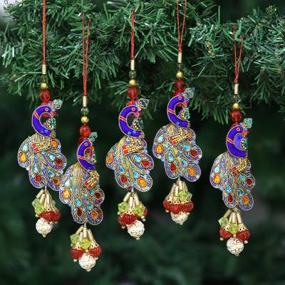 Beaded Christmas Ornaments.Handcrafted Hand Beaded Christmas Ornaments Set Of 5 Mughal Peacocks